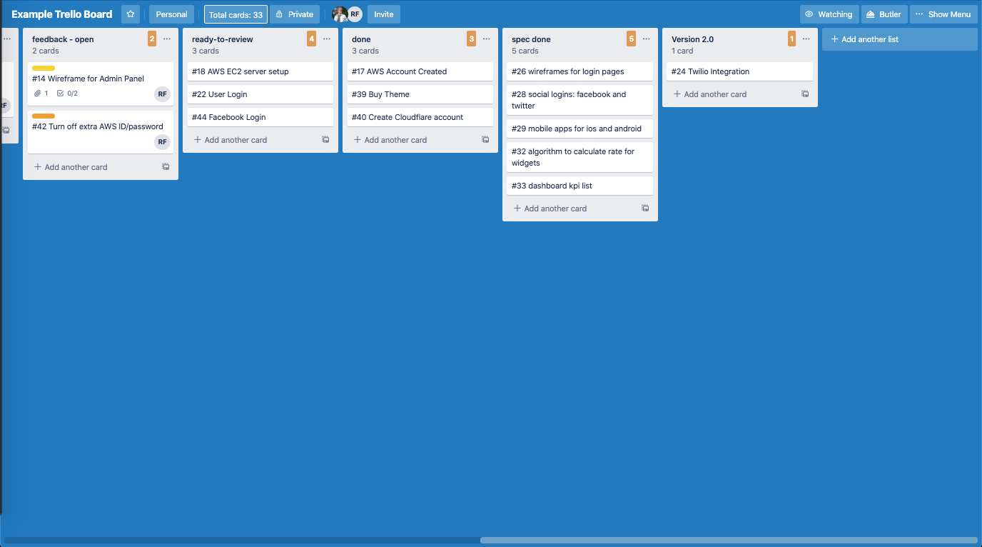 Example Trello board right side