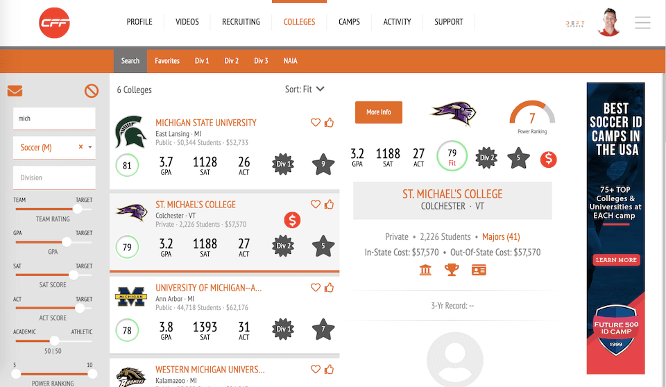 College Fit Finder Screenshot