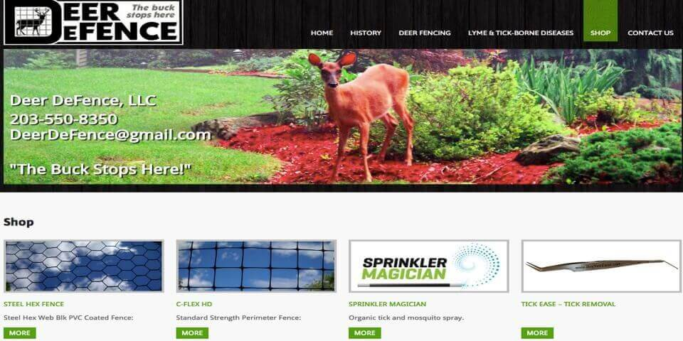 Deer Defence - eCommerce Site Screenshot
