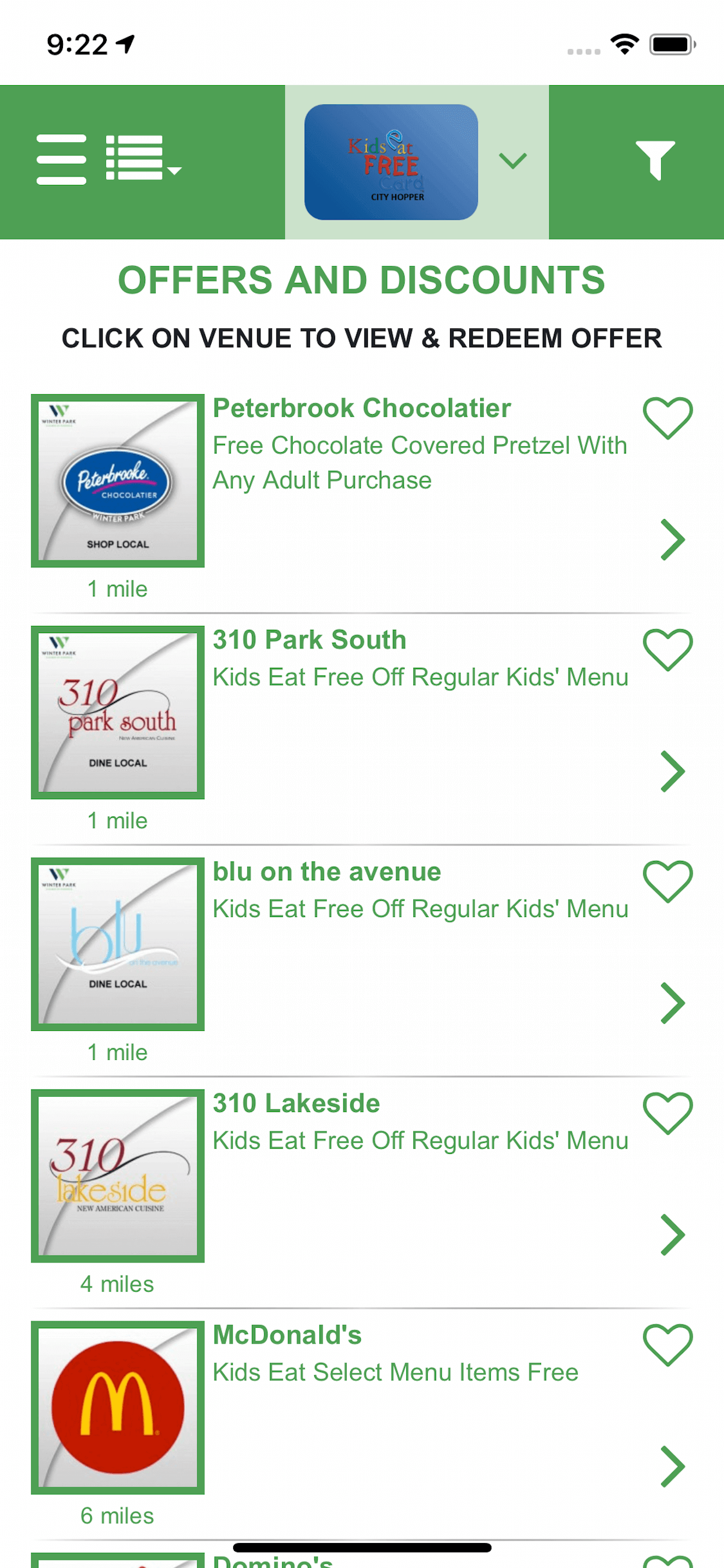 Kids Eat Free White Label Mobile App Case Study Screenshot
